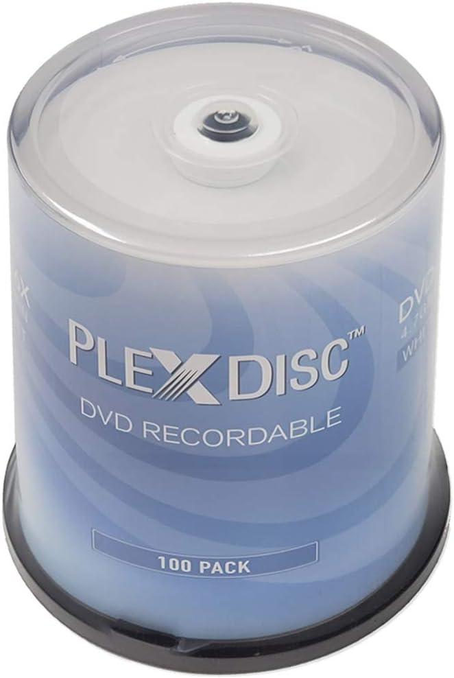 PlexDisc DVD-R 4.7GB 16X White Inkjet Printable Surface, Hub Printable - 100pk Cake Box