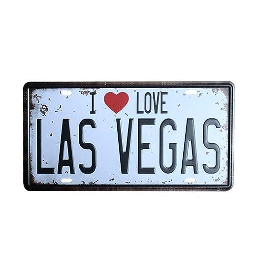 Mulica I Love Las Vegas Placa de Metal Vintage Placa de ...