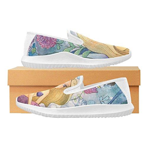 D-Story Shoes Fashion Slip-On Womens Canvas Sneakers Mermaid 2 TdMFxxHw