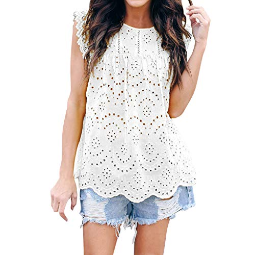 TUSANG Womens Lace Floral Hollow Out Sexy Flare Loose Cute Cotton Shirt Blouse Top Casual Summer Round Collar Tunic(White,US-8/CN-L)