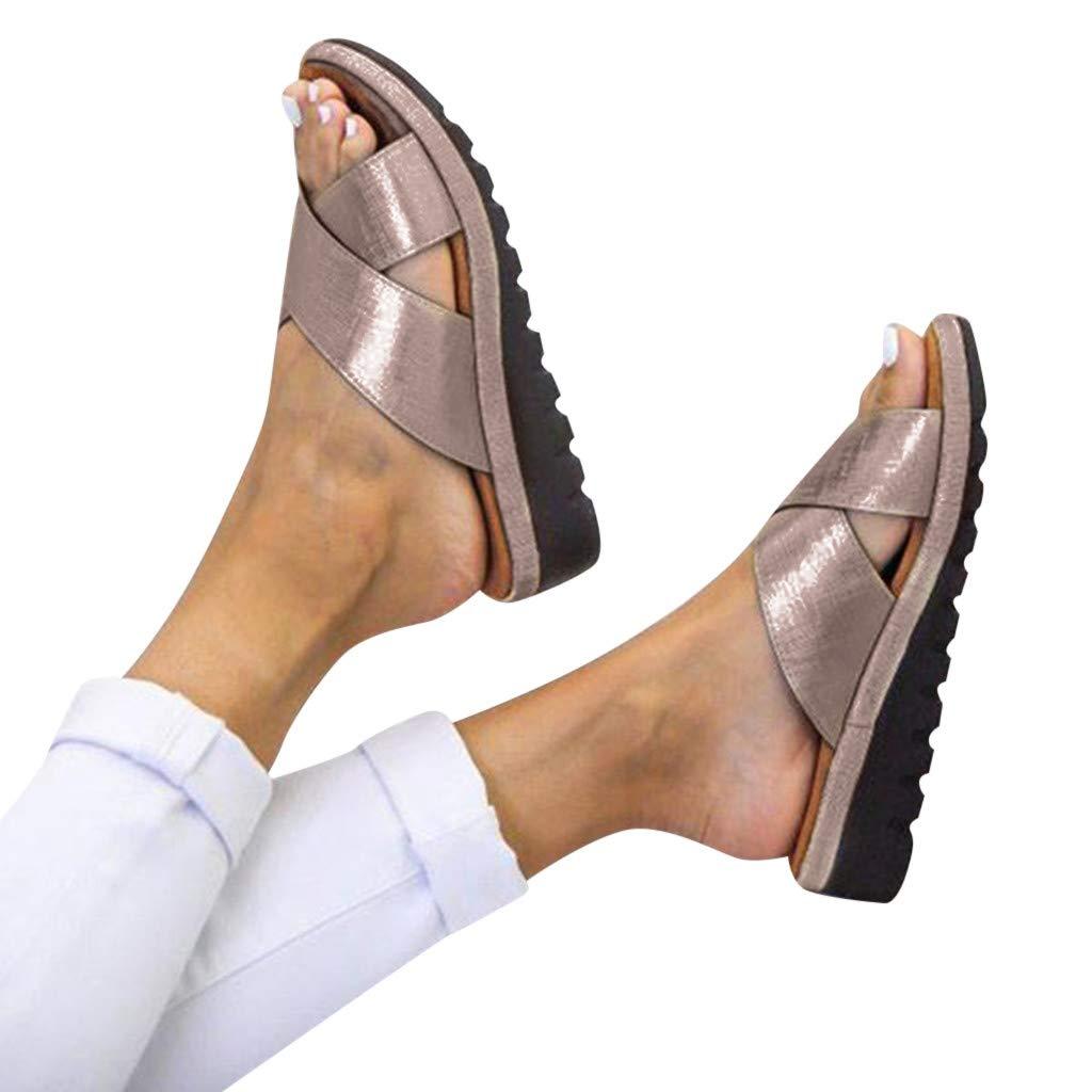 Women's Sandals Sengei Women Comfy Platform Sandal Shoes Summer Beach Open Toe Shoes Thick Bottom Roman Sandal Shoes (US 7.5-8, Khaki) by Sengei shoe