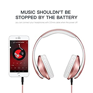 Bluetooth Headphones Over Ear, Wireless Stereo Headset with Deep Bass, Foldable and Lightweight, Wired and Wireless Two Modes for Cell Phone, TV, PC and Traveling by Jpodream - Rose Gold