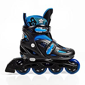 High Bounce Rollerblades Adjustable Inline Skate (Blue, Small (12-1) ABEC 5)