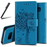 Galaxy S8 Plus Stand Case,Samsung Galaxy S8 Plus Wallet Case,Galaxy S8 Plus 2017 PU Leather Case,SKYMARS Cat Tree Embossed PU Leather Flip Kickstand Cards Slot Cash Pockets Wallet Magnetic Closure Book Style Case for Samsung Galaxy S8 Plus 2017 Tree Blue