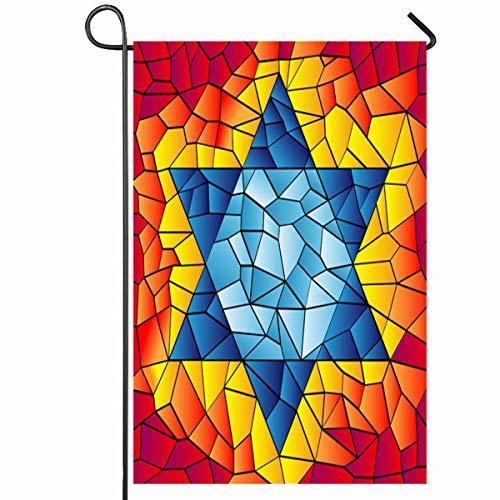 Ahawoso Outdoor Garden Flag 12x18 Inches Israel Blue David Six Pointed Star Mosaic Vivid Bright Jewish Kippur Yom Glass Design Seasonal Home Decorative House Yard Sign
