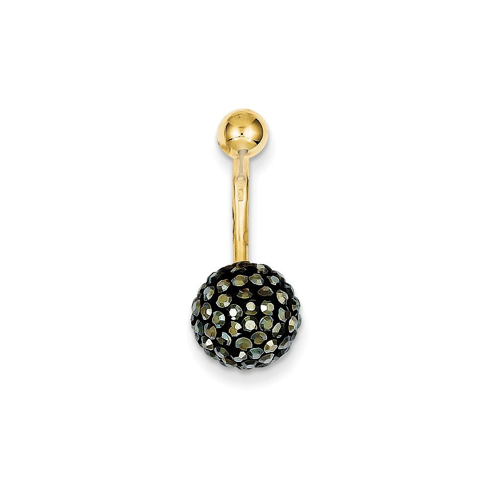 10k Yellow Gold With Hematite Crystal Ball Belly Ring Dangle