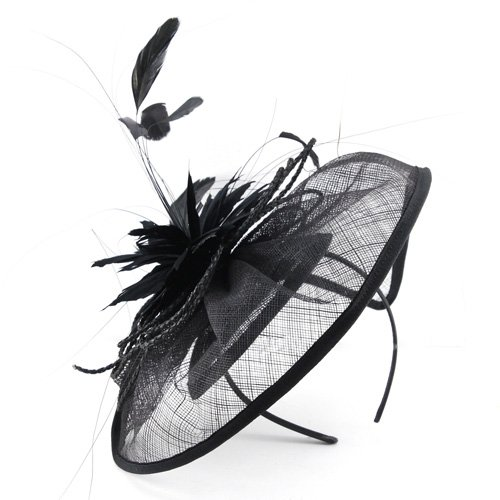 [Beautifully Styled Millinery Hat Fascinator; Imposing Curves & Wide Brimmed Design for Weddings or the Races, with a large star flower feather centre. Stunning! Two colour options, and a great value] (Czech Polka Costumes)