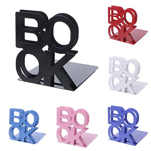 HEASEN 2pcs Alphabet Shaped Metal Bookends Iron Support Holder Desk Stands for Books 6 Colors