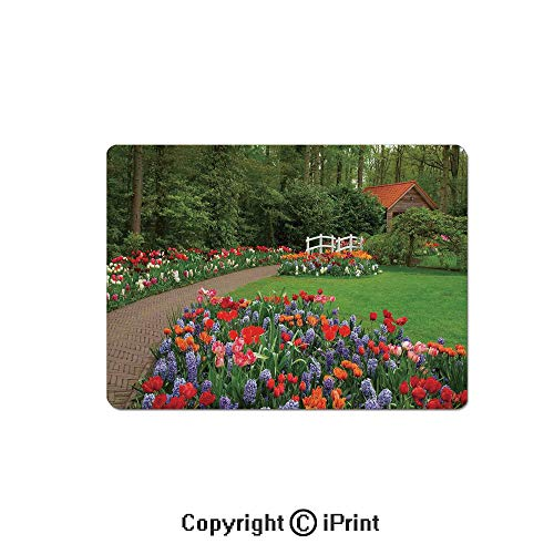Anti-Slip Mouse Pad,A Spring Garden with Forest Hut Small Bridge Plants Flowerbeds and Walkway Mouse Mat,Non-Slip Rubber Base Mousepad,7.9x9.5 inch,Green Purple