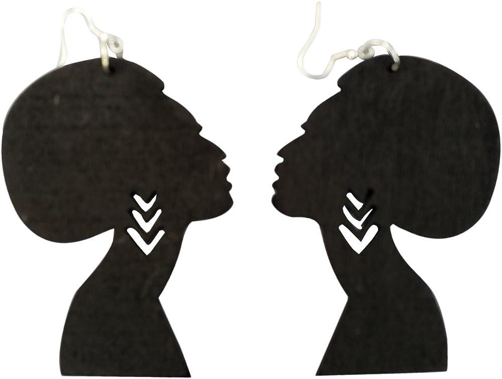 Laser cut acrylic Soul Sista Afro silhouette Africa earrings in black large size