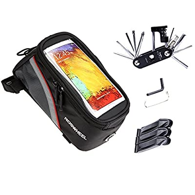 Bike Repair Bag Set, WOTOW Bicycle Frame Pannier Cell Phone Bag Cycling Front Top Tube 5.7 inch Mobile Phone Touch Screen Holder with Multi Function Tool Kit Hex Key Wrench Tire Pry Bars