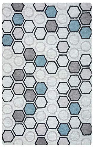 Gatney Rugs Miller Area Rug LC9430 Light Gray Circles Hexagons 8' x 10' Rectangle