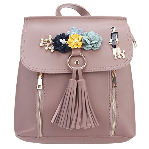 (Fawziya Flowers And Tassel Backpack For Women Shoulder Bags And Purses Zipper Student School Bag-Dark Pink)