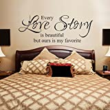 Master Bedroom MairGwall Beautiful Love Wall Decal Quotes Vinyl Wall Lettering Romantic Master Bedroom Wall Decal Saying Every Love Story Is Beautiful but Ours Is My Favorite(