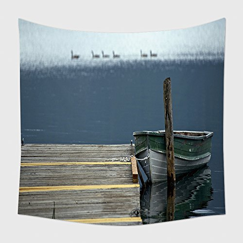 Core Decor Tapestry Wall Hanging Old Boat On Lake Wood Dock. Crescent Lake, Washington State, Usa. Black American Ducks In The Unobtrusive. Lake Theme Nature Photography Collection_14699533 for Bedroom
