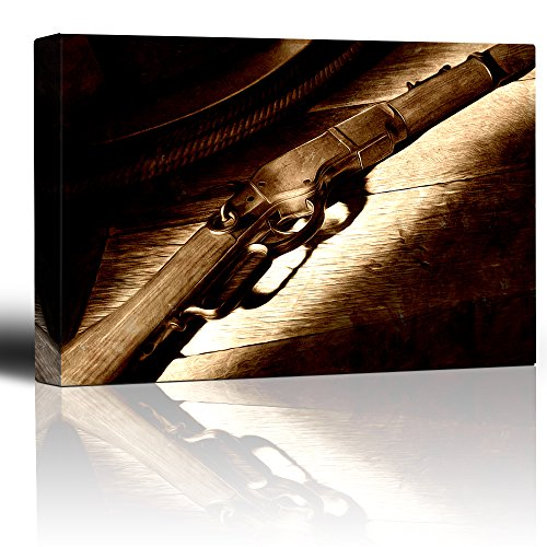 Rifle on Wooden Table Country and Western Firearm Painted Wood Look Monochrome Rustic Feeling Art