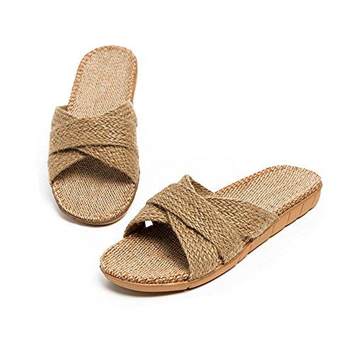 bestfur Linen Men's Brown Slippers Cozy Indoor Breathable vvz1xwP