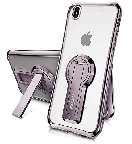 iPhone X Case, Vivafree [Skyfall Series] Premium Kickstand Transparent Slim Fit Clear Full Protection Cover Case Kick Stand [Wireless Charging] for Apple iPhone X/iPhone 10 (2017) - Metallic Purple - Kickstand Cover