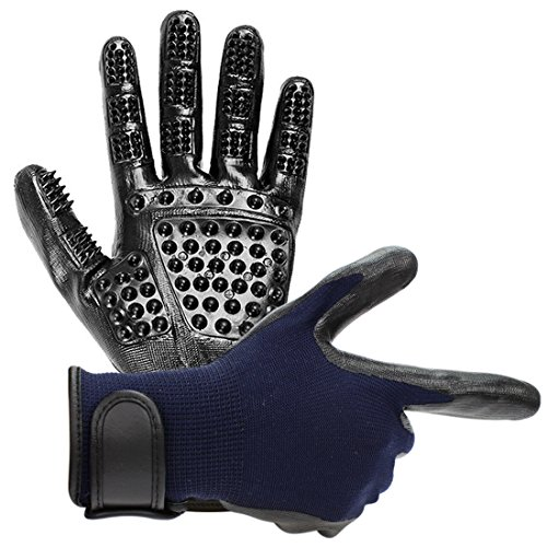Vission Pet Grooming Glove Hair Removal Mitt - Gentle Deshedding Brush Glove - Perfect for Dogs, Cats & Horses with Long or Short Fur - Enhanced Five Finger Design (Blue) by Vission