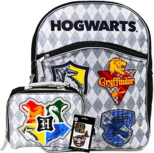 Harry Potter Backpack and Lunch Box Set for Kids  16 Hogwarts Houses School Backpack Insulated Harry Potter Lunch BagHarry Potter Patches (Harry Potter School Supplies Bundle)