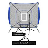 ChampionNet 7' x 7' Baseball/Softball Net & Frame with Tee & Target Zone Bundle - ROYAL BLUE