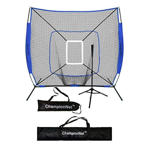 ChampionNet 7' x 7' Baseball/Softball Net & Frame with Tee & Target Zone Bundle - ROYAL BLUE by ChampionNet