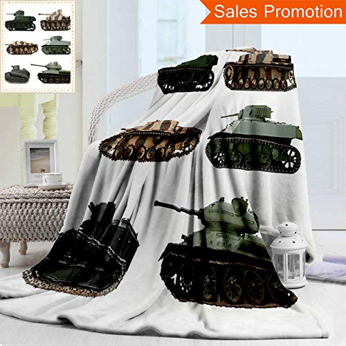 "Unique Custom Warm 3D Print Flannel Blanket War Second World War Armoured Tanks Camouflage Military Power Artillery Weapon Green Whit Cozy Plush Supersoft Blankets for Couch Bed, Twin Size 60"" x 70"""