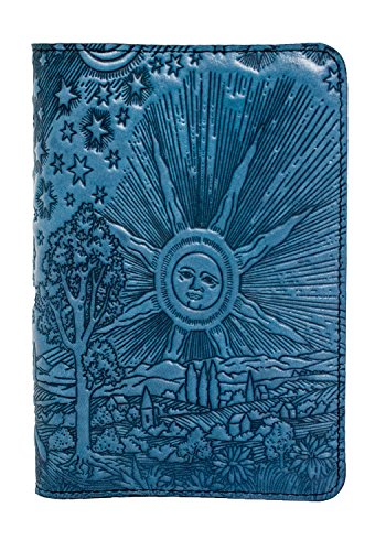 Oberon Design Roof of Heaven Pocket Notebook Cover - Fits Many 5.5 x 3.5 Inch Notebooks, Embossed Genuine Leather, Sky Blue - Made in The USA