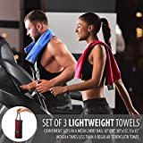 OlimpiaFit Set of 3 Towels Microfiber Towel Perfect Sports & Travel &Beach Towel. Fast Drying - Super Absorbent - Ultra Compact. Suitable for Camping, Gym, Beach, Swimming, Backpacking. Red
