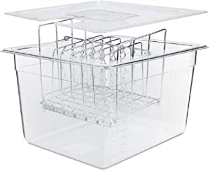 SV - Sous Vide Cooker Complete Set with Container Lid and Rack – Crystal Clear 12 Qt Container BPA Free NSF Rated - Stainless Steel Rack - Suits Anova, Nano, Joule and Most Circulators