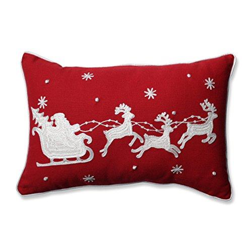 Sleigh & Reindeers Rectangular Throw Pillow, Red (Red Santa Sleigh)