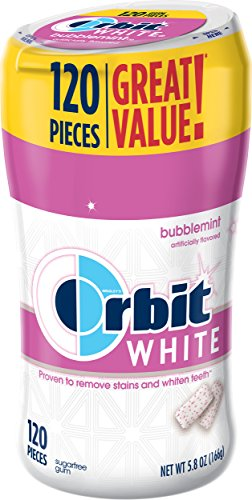 Orbit White Bubblemint Sugarfree Gum, 120 piece bottle