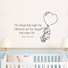 "Wall Decal Decor Classic Winnie the Pooh Quotes - The things that make me different are the things that make me. - Kids Room Nursery Vinyl Wall Art Sticker(White, 16""h x22""w)"