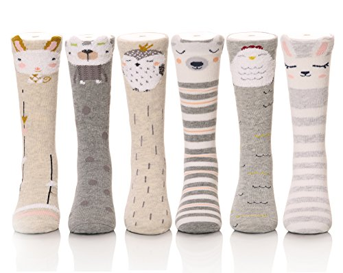 Color City Unisex Baby Girls Socks Toddler Knee High Socks - Cartoon Animal Warm Cotton Stockings (6 Pairs A) -