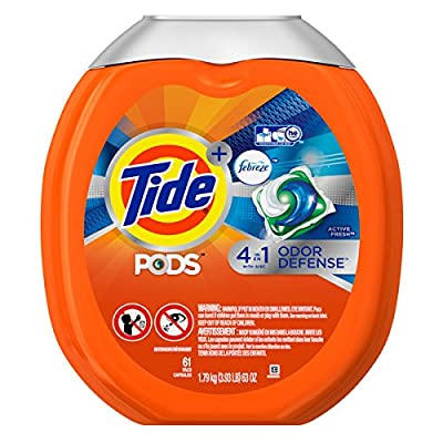 Tide PODS Plus Febreze Odor Defense Laundry Detergent Pacs, Active Fresh Scent, 61 loads, Designed For Regular and HE Washers