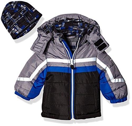 (London Fog Baby Boys Active Heavyweight Jacket with Ski Cap, Super Blue, 12M)