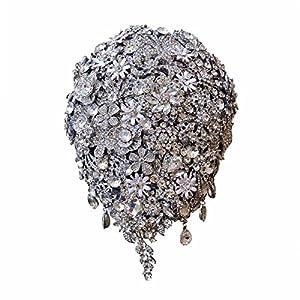 KLN_Dress Luxury Rhinestone Brooch Bouquet High-end Wedding Bridal Bouquets Crystal Diamond Teardrop Shaped Bride Bouquet Wedding Decoration 55