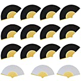 Miayon 15 PCS Silk Bamboo Folding Fans Handheld Folded Fan for Wedding Party and Home Office DIY Decor (12PCS Black and Beige Fan & 3 PCS White Fan)