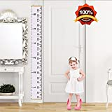 MAZU Height Growth Chart for Kids - Canvas Removable Height Growth Ruler with Wood Frame -Wall Hanging for Measurement, Room Decoration, Wall Decor - 79'' x 7.9'', A4 White
