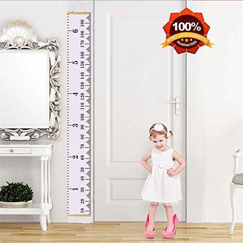 MAZU Height Growth Chart for Kids - Canvas Removable Height Growth Ruler with Wood Frame -Wall Hanging for Measurement, Room Decoration, Wall Decor - 79'' x 7.9'', A4 White by MAZU