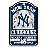 "MLB New York Yankees 28917012 Wood Sign, 11"" x 17"", Black"