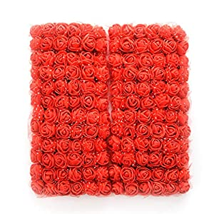 roses flower heads red Artificial Rose Flowers DIY 144 PCS Head Rose Flowers Wedding Bride Bouquet PE Foam DIY Party Festival Home Decor Rose Flowers (red) 59