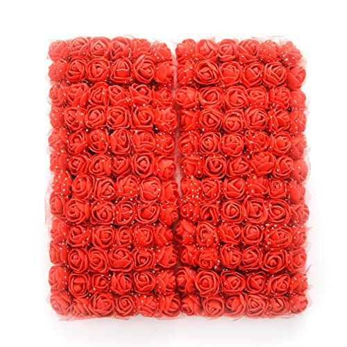 Wholesale Red Roses - roses flower heads red Artificial Rose Flowers DIY 144 PCS Head Rose Flowers Wedding Bride Bouquet PE Foam DIY Party Festival Home Decor Rose Flowers (red)