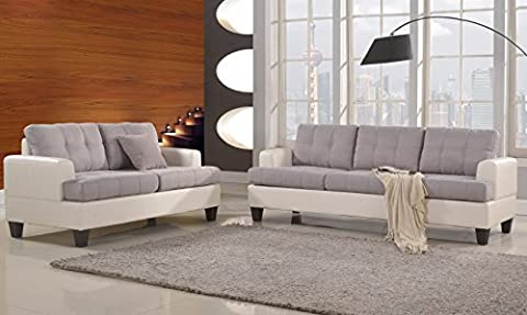 Classic 2 Tone Linen Fabric and Bonded Leather Sofa and Loveseat Living Room Set (White / Grey) - Upholstery Living Room Furniture