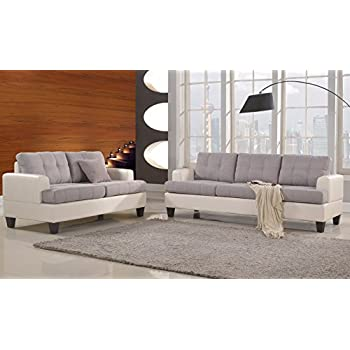 classic 2 tone linen fabric and bonded leather sofa and loveseat living room set white