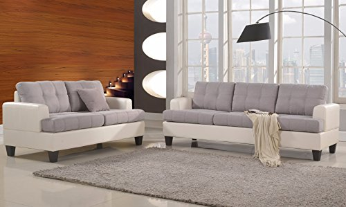 Classic 2 Tone Linen Fabric and Bonded Leather Sofa and Loveseat Living Room Set (White / Grey)