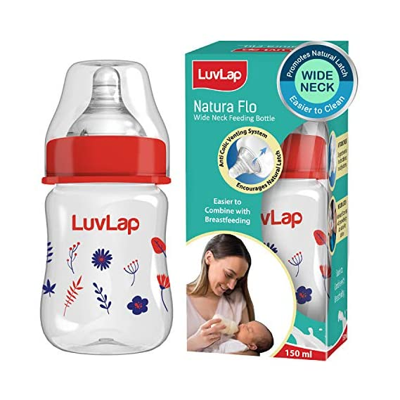Luvlap Wide Neck Natura Flo Baby Feeding Bottle, 150ml, Floral