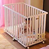 XY Crib Furniture Solid Pine Wood Crib Baby Cot Bed Frame for Toddler Kids Child Folding Bed (Color : White)