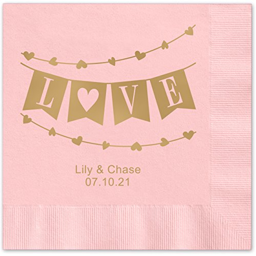 Banner Love Personalized Beverage Cocktail Napkins - 100 Custom Printed Pink Paper Napkins with choice of foil by Canopy Street