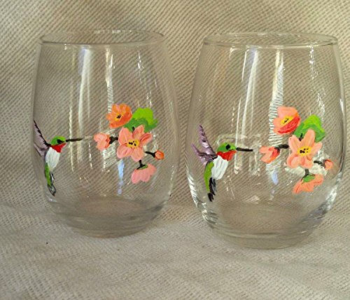 Hummingbird with Flowers Hand Painted Stemless Wine Glasses (Set Of 2), Bird Kitchen Decor